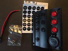 Quadro elettrico 3 interruttori a led con presa 12V e interruttore di circuito