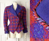 Vtg 80s Nipon Boutique Couture Peplum Blue Check Jacket S