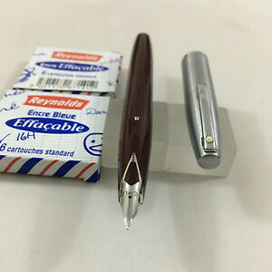 Sheaffer 440 Imperial Brush Steel cap Brown FP steel Medium+12 Cat.No conv USA