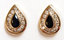 14k Yellow Gold Sapphire and Diamond Teardrop shaped Earrings