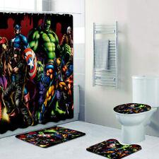 Marvel Avengers Bathroom Mats Shower Curtain 4PCS Foot Mat Toilet Lid Cover Rug