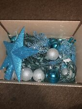Blue And White Christmas Tree Decorations With Lights