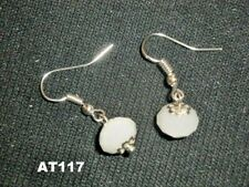 Clean simple faceted white glass earrings child or adult