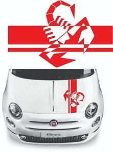 Sticker for Fiat abarth 500 595 hood stripe Scorpion stripe Racing stripe Sport