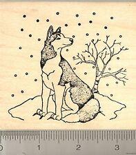 Lg Alaskan Husky dog Winter Scene Rubber Stamp Wm L7309