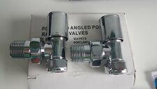 Portland Angled Polished Chrome Radiator Valve pair 15mm