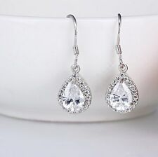 Sterling Silver Cubic Zirconia crystal tear drop dangle earrings gift box E10