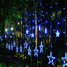 138 LED Twinkle Star Curtain Window Fairy Lights Christmas Party Wedding Blue UK