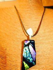 1x55x27mm dichroic glass pendant handmade SPLENDOUR .925 necklace free post