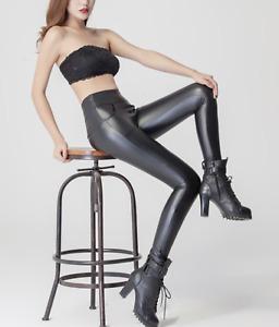 Women Faux Leather COTTON Lining BLACK High Waist Front Pocket Leggings Pants