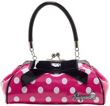 "Sourpuss ""Floozy"" Pink & White Polka Dot Purse Retro Pinup Rockabilly Handbag"