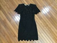 Vintage Laurence Kazar Black Silk Beaded Sequin Formal Evening Dress Size M