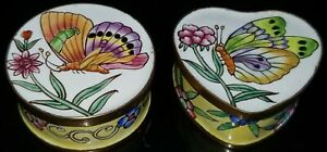VTG SET OF 2 MINI BRONZE PAINTED ENAMELED BUTTERFLY PILL JEWELRY BOX RARE!