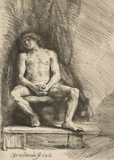 Nude Man Seated, 1646, REMBRANDT, Baroque, Dutch Golden Age Art Poster