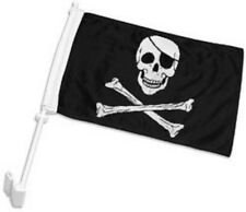 """12x18 Jolly Roger Pirate Eye Patch Double Sided Car Window Vehicle 12""""x18"""" Flag"""