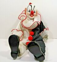 VINTAGE 1983 BLACK & WHITE DYNASTY DOLL SITTING CLOWN PORCELAIN 16""