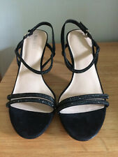 Nine West Black Suede Sandals with Beading - Size 40 (New)