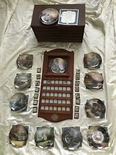 Thomas Kinkade Perpetual Calendar Cherry Wood Display- Set Of 12 Plates W/ Case