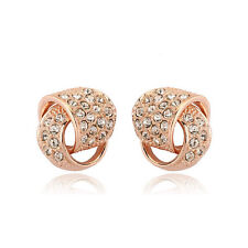 LOVELY 18K ROSE GOLD PLATED GENUINE CLEAR AUSTRIAN CRYSTAL KNOT STUD EARRINGS