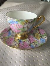 Shelley Rock Garden Gold Chintz Ripon Bone China Tea Cup And Saucer $250