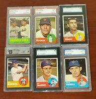 1963 Topps Mets PSA SGC NM 7 Graded 6 Card Lot Hodges, Hickman, Kanehl,  Thomas