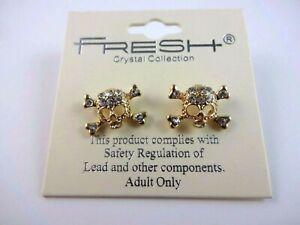 Skull Crossbones Earrings Rhinestone Gold Tone Posts Metal Emo Fresh