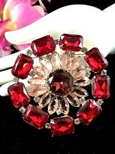 STUNNING CZECH STYLE VINTAGE SILVER-TONE RUBY RED RHINESTONE LARGE FLORAL BROOCH