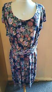 FATFACE NAVY FLORAL PRINT TIE WAIST JERSEY DRESS UK SIZE 18