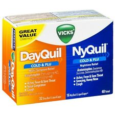 Vicks DayQuil - NyQuil Cold - Flu Combo Pack LiquiCaps 48 Ct (Pack of 2)