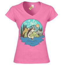 Grande Peces Camiseta Lake Pesca Mujer Cuello en V