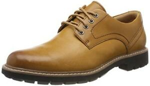 CLARKS Mens Batcombe Hall Tan Leather Smart Derby Lace Up Shoes UK Size 8/42 G