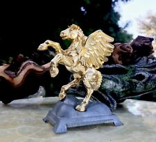 Signed Carver E. Tripp # 554 Gokd Leaf + Pewter Pegasus Winged Horse Statue
