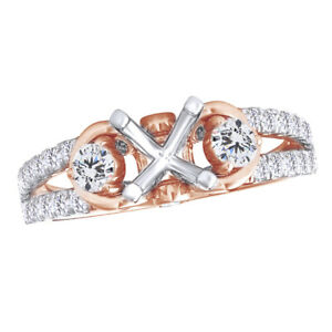 1/2 Ct Round Simulated 14K White & Rose Gold Semi-Mount Engagement Ring