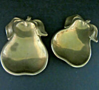 SET of 2 Vintage Small BRASS Metal Pear Dish Spoon Tea Bag Rest Made Italy EUC
