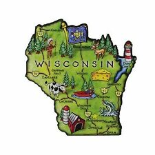 Wisconsin State Artwood Jumbo Fridge Magnet Large Refrigerator Travel Souvenir
