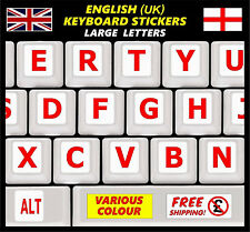 LARGE English Keyboard Stickers Red Letters Visually Poor Impaired Children PC +