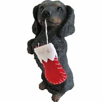 Sandicast Black Dachshund with Red Stocking Christmas Ornament