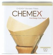 NEW Chemex Bonded Unbleached Pre-folded Square Coffee Filters, 100 Count