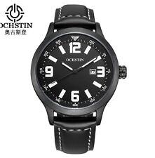 U.K. Black Pilot Military Quartz  Sports Watch With Leather Strap