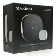 NEW ecobee ecobee4 Alexa Enabled Smart Thermostat w/ Sensor -Black- EBSTATE401