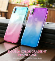 For iPhone X XR XS Max 8 7 Plus Ultra Slim Double Color Gradient Soft TPU Case