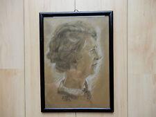 Frauen Portrait Bleistift / Rötelzeichnung , Rostock 1930