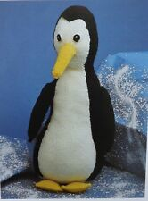 "Toy Percy Penguin Knitting Pattern Vintage Stuffed Double Knit 42cm/16.5"" Tall"