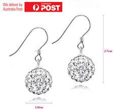 Elegant 925 Sterling Silver Crystal Rhinestone Ear Hook Drop Stud Earrings