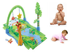 TROPICAL RAIN FOREST PADDED PLAYMAT ACTIVITY W/ TOYS HANGING TOYS SOFT BABY GYM