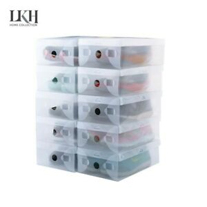 Plastic Shoe Storage Boxes Drawer Clear Organiser Container Stackable 10 & 20 Pk
