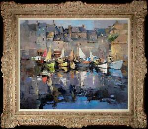 """Hand-painted Original Oil painting art boat Landscape On Canvas 20""""X24"""""""