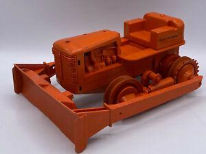 Vintage Allis Chalmers Plastic Rubber Orange Toy Tractor Dozer Bulldozer