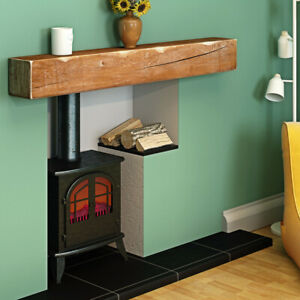 House Rustic Solid Oak Floating Beam Mantel Mantelpiece Shelf Fire Surround NEW