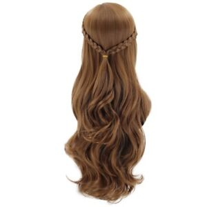 2X(Brown Cosplay Wigs Long Braided Wave Curly Wig for Girls Child Halloween Z6X1